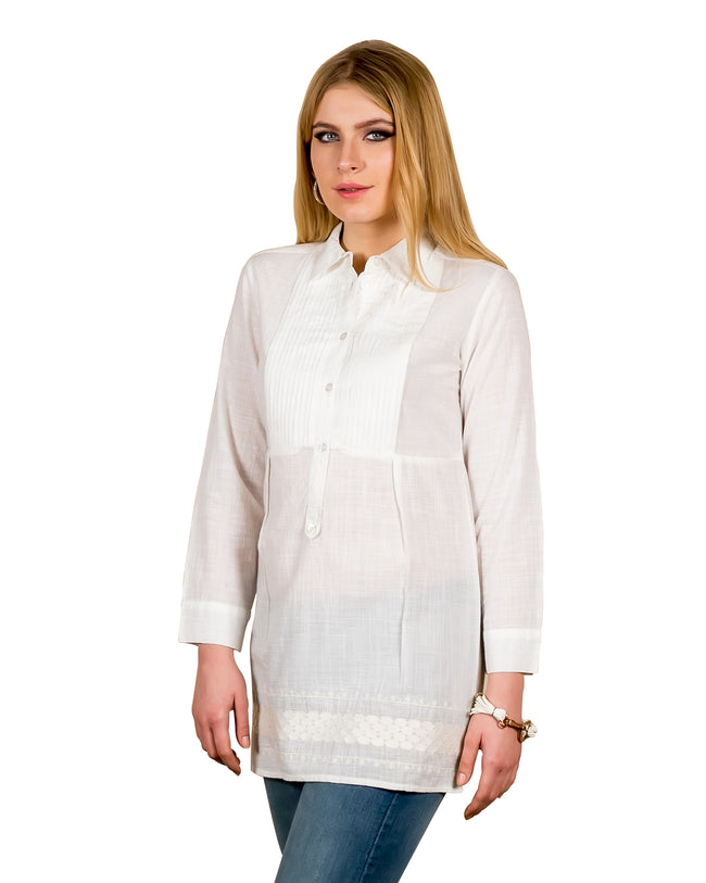 white cotton tunic tops online for women