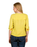 yellow shrug style tops online for women
