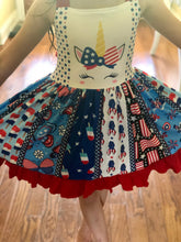 Load image into Gallery viewer, Red White and Blue Unicorn Twirl Dress