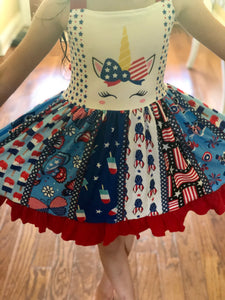 Red White and Blue Unicorn Twirl Dress