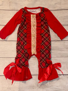 Christmas plaid romper