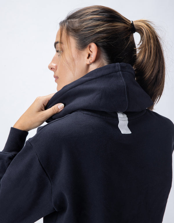 Rest Fleece Crop Hood Black