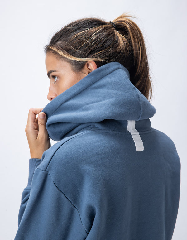 Rest Fleece Crop Hood Driblue