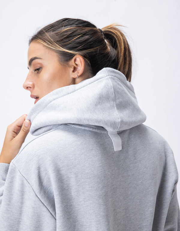 Rest Fleece Crop Hood Silver Marle