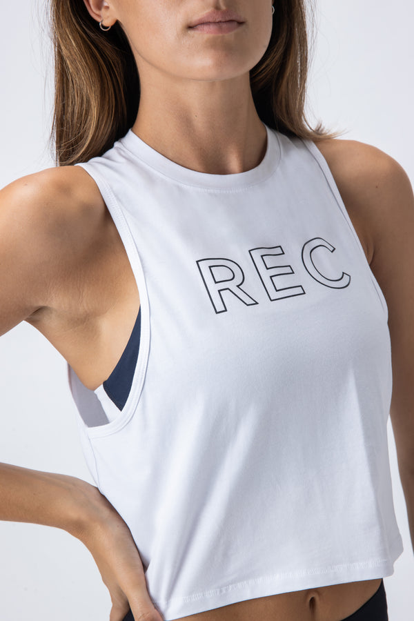 Edge Crop Tank White