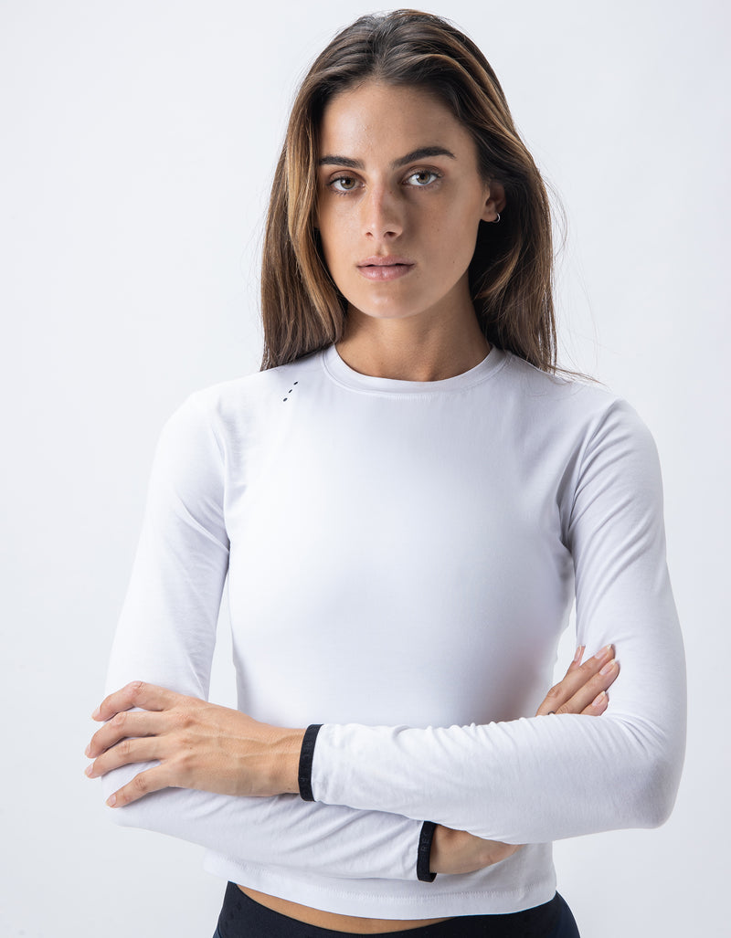 Form Crop LS Tee White