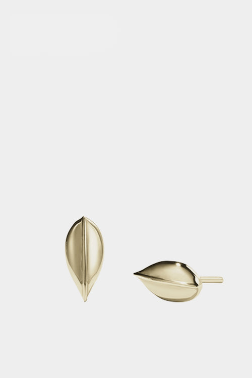 Meadowlark Small Leaf Stud Earring - gold