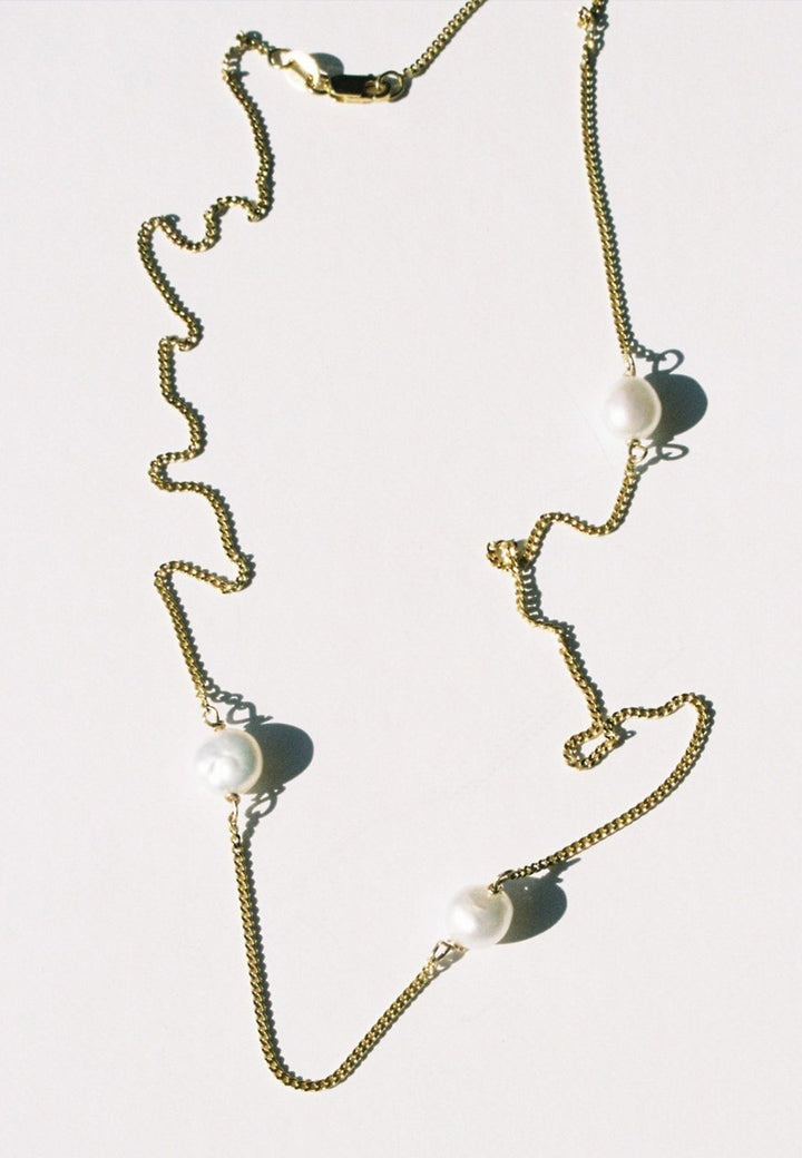 Mars | Triple Necklace - Gold/Pearl | Good As Gold, NZ