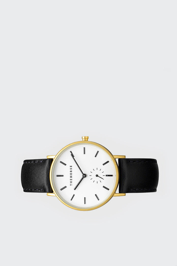 The Horse Classic Watch - brushed gold/black leather | GOOD AS GOLD | NZ