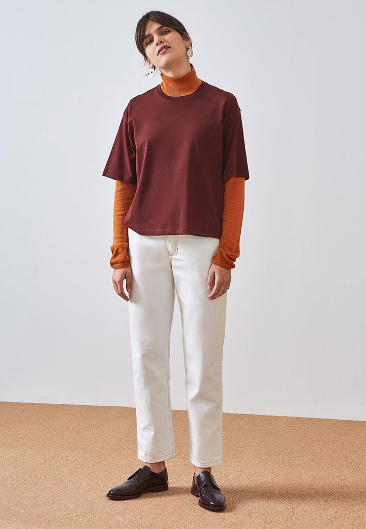 Kowtow Building Block Boxy T-Shirt - wine — Good as Gold