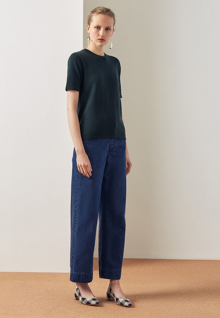 Kowtow Knit T-Shirt - bottle green — Good as Gold