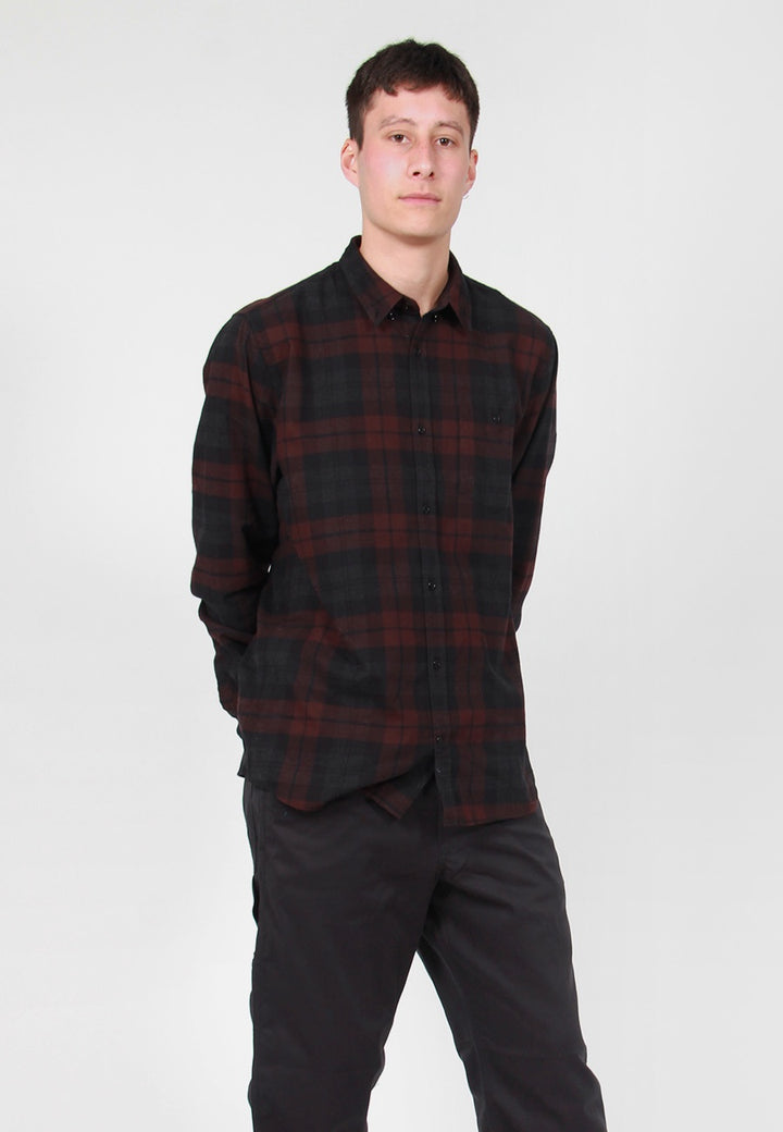 Norse Projects Anton Flannel Check Shirt - eggplant brown – Good as Gold