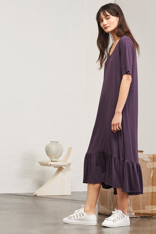 Kowtow Building Block Gather Hem Dress - plum | GOOD AS GOLD | NZ