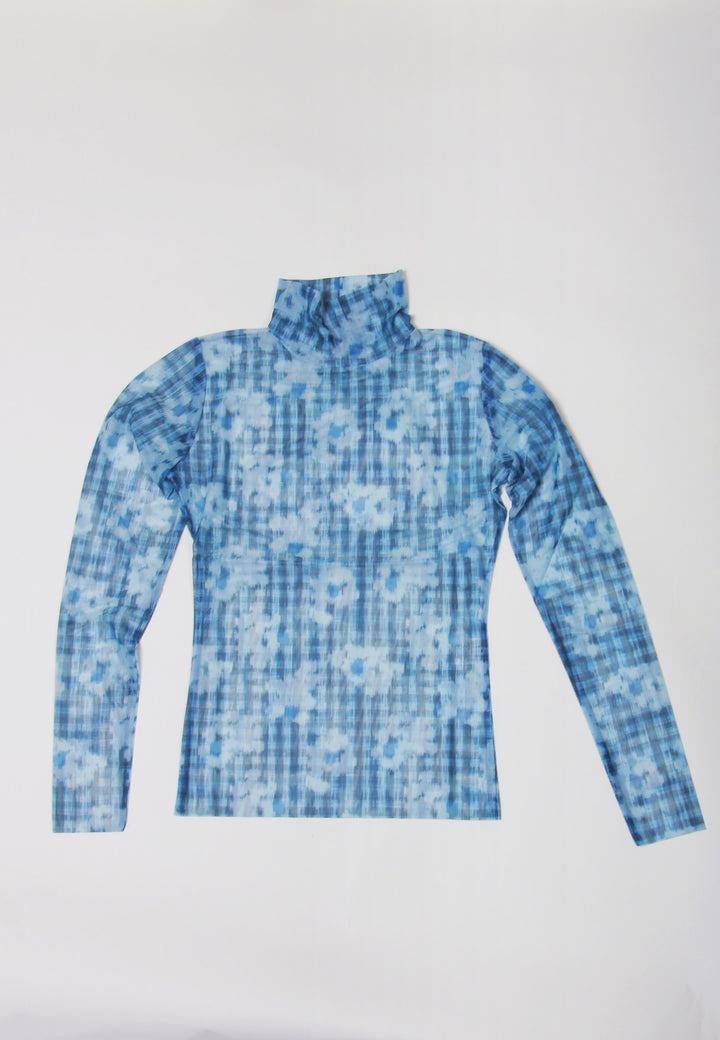 Pollen Mesh Roundneck Top - mint/blue flowers