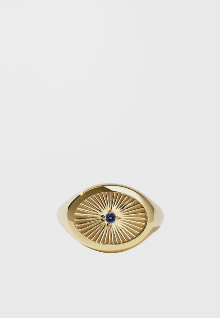 Meadowlark | Inez Signet Ring - gold/dark blue sapphire | Good As Gold, NZ
