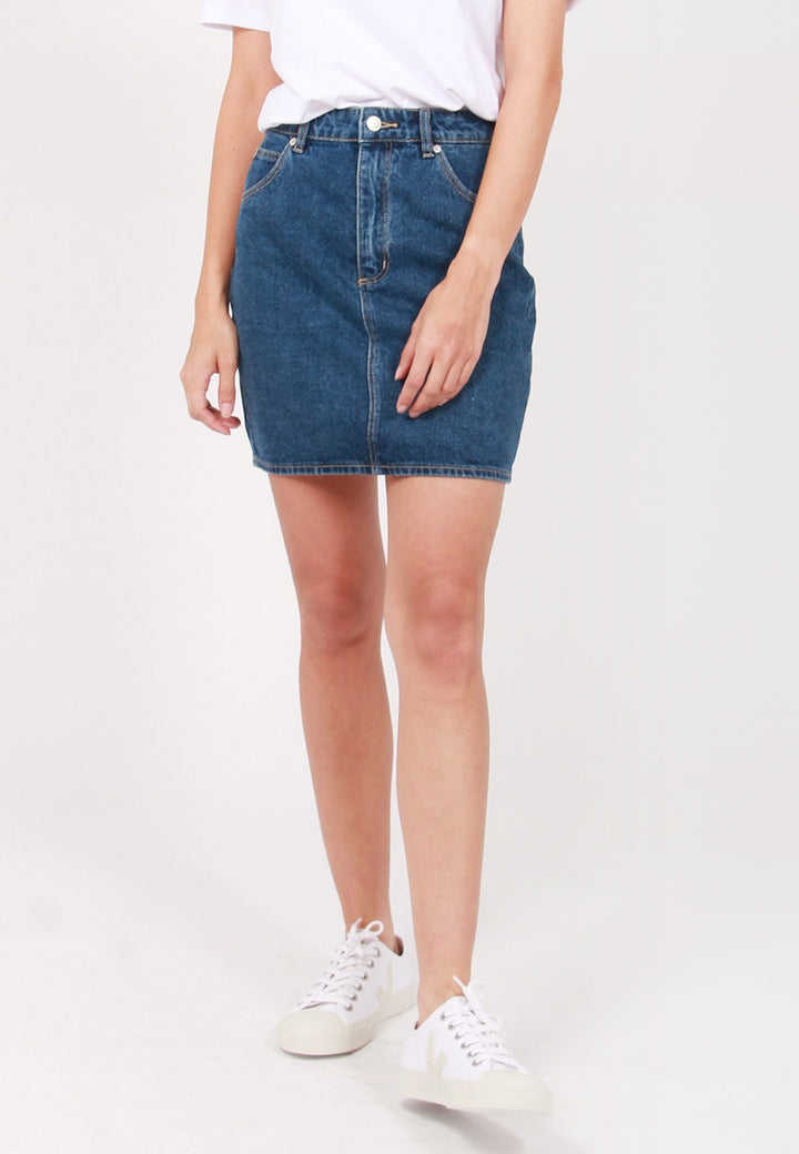 High Mini Denim Skirt - old blue