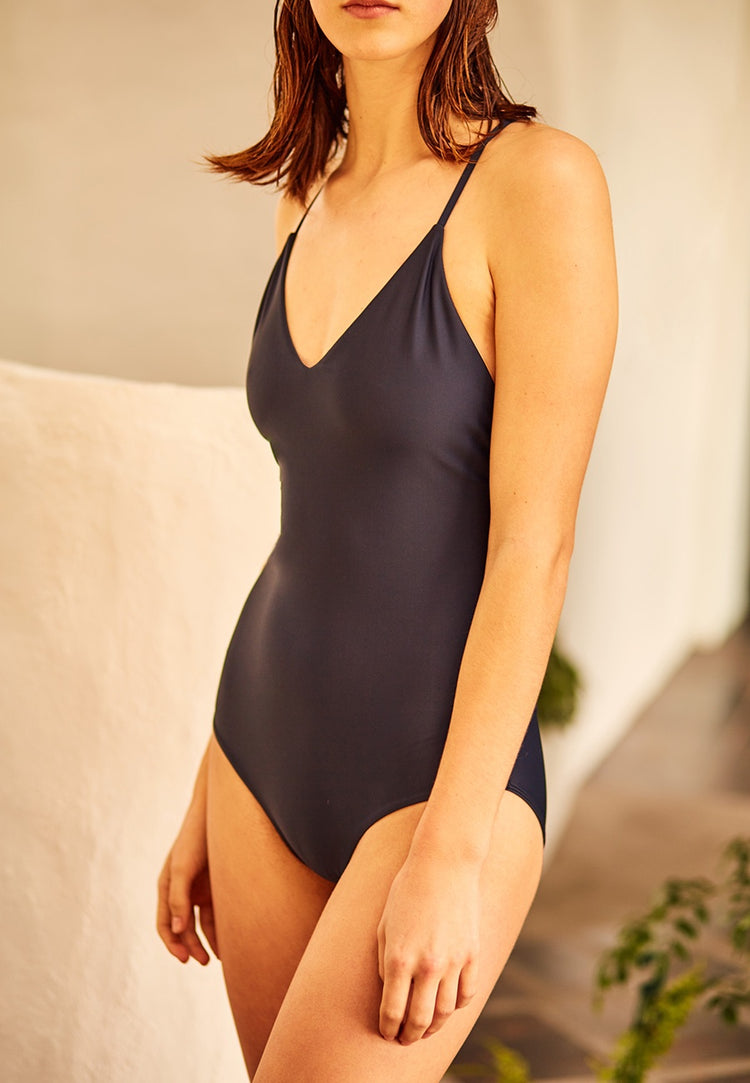 Swim Tie Back One Piece - midnight