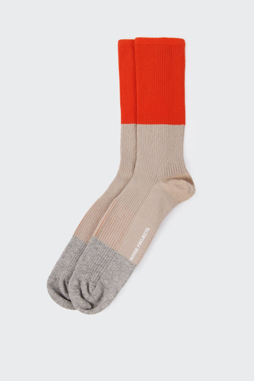 Norse Projects Bjarki Colour Block Socks - burned red | GOOD AS GOLD | NZ