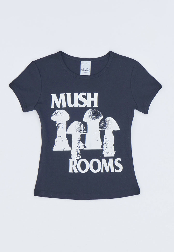 Sisi Mush Rooms Ribbed T-Shirt - black