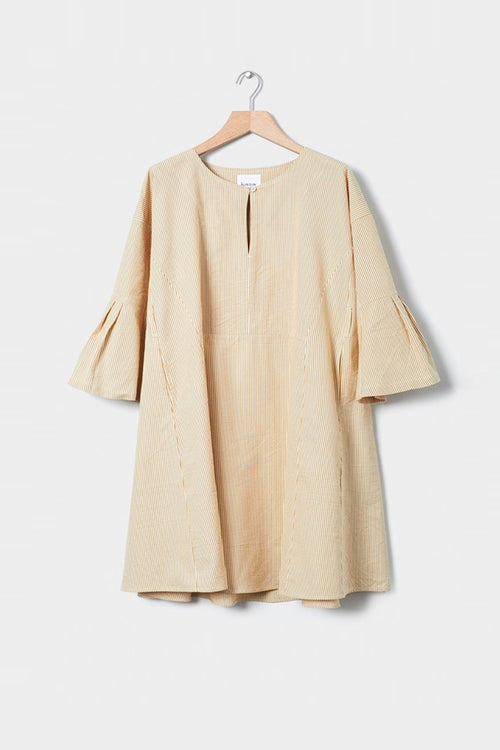 Kowtow Atrium Dress - mustard stripe — Good as Gold