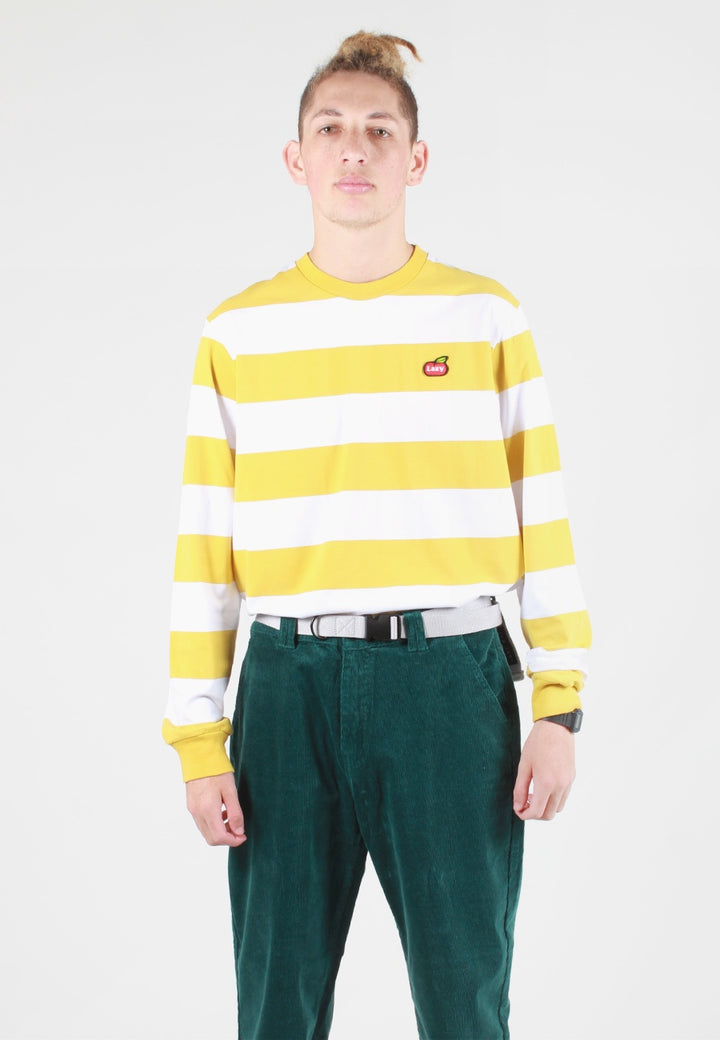 Lazy Oaf Lazy Apple Long Sleeve T-Shirt - yellow stripe — Good as Gold