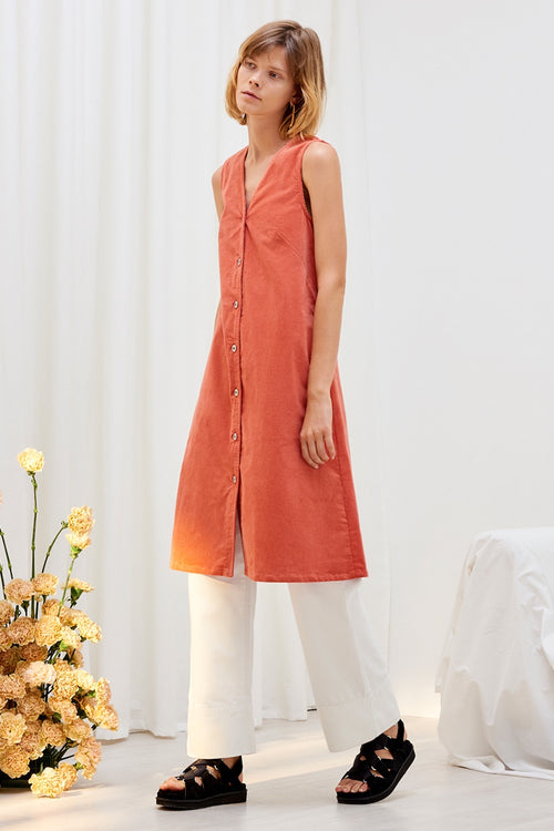 Kowtow Direction Dress - peach cord | GOOD AS GOLD | NZ