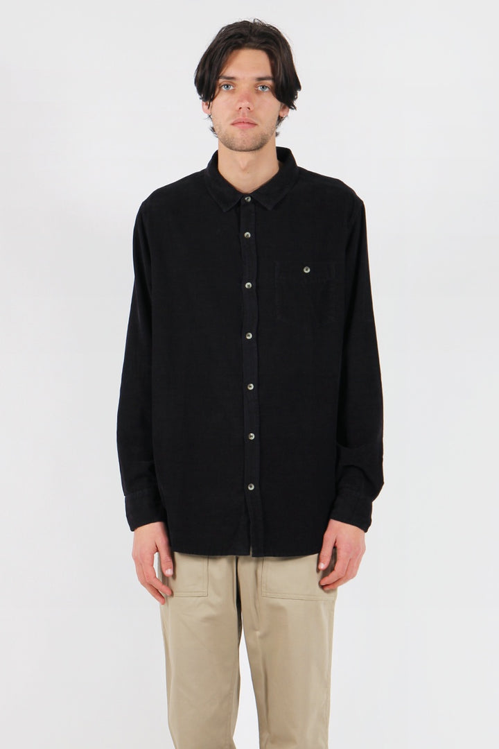 Men At Work Cord Shirt - black