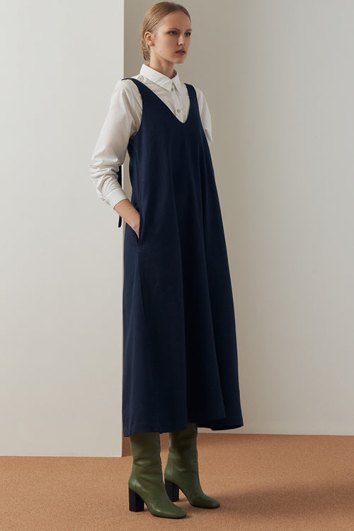 Kowtow Knotted Tie Dress - navy — Good as Gold