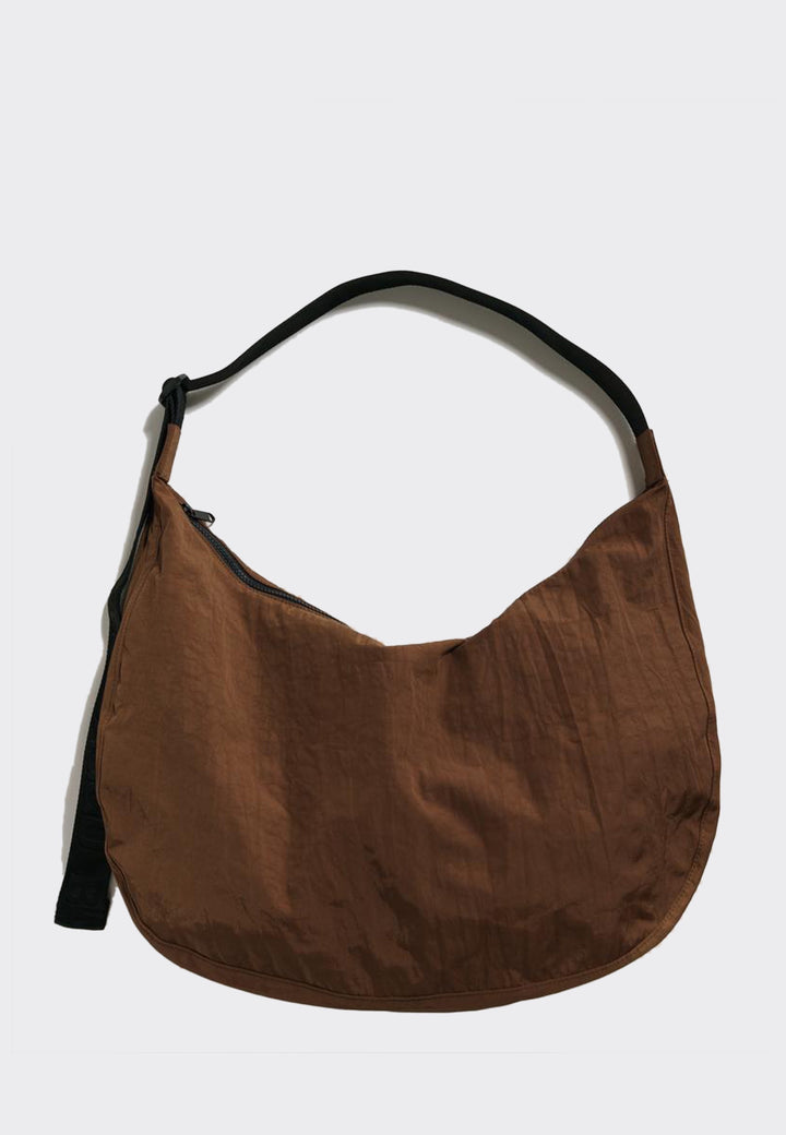 Large Nylon Crescent Bag - brown