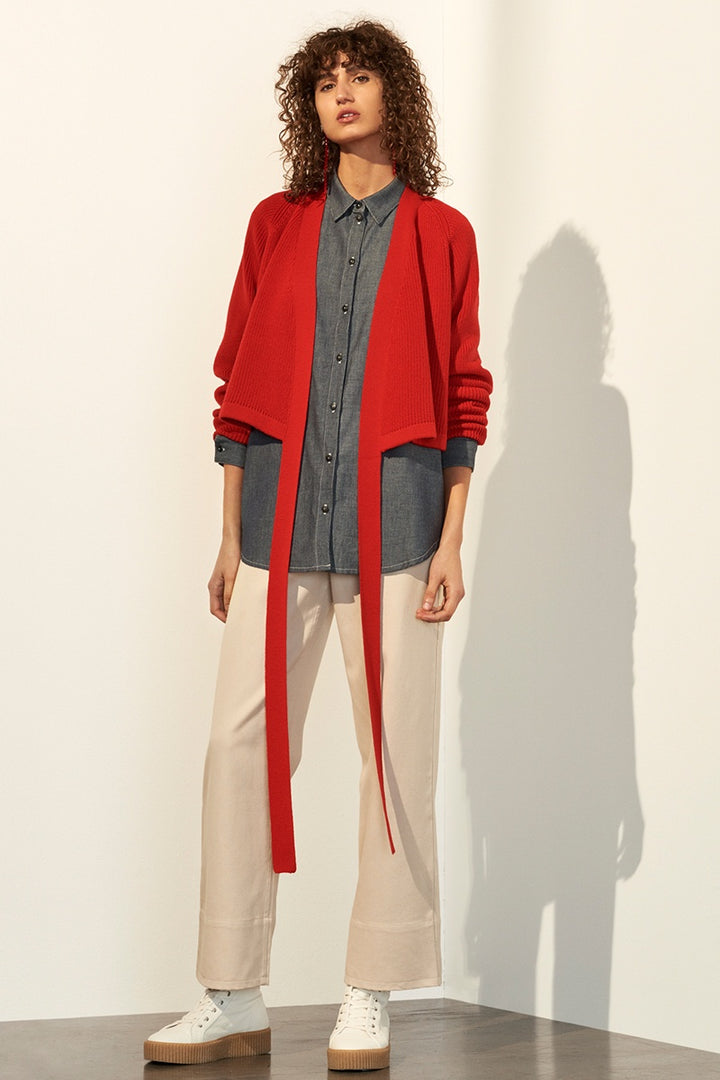 Kowtow Composure Cardigan - red | GOOD AS GOLD | NZ