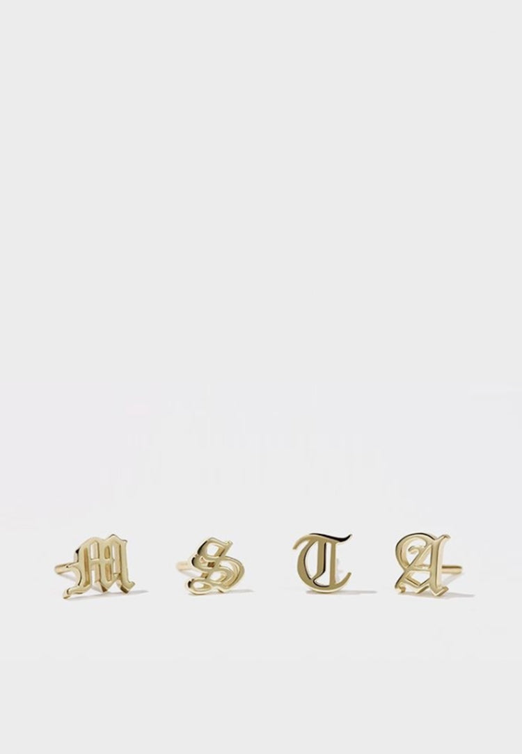 Meadowlark Capital Letter Stud Earring - gold - Good As Gold
