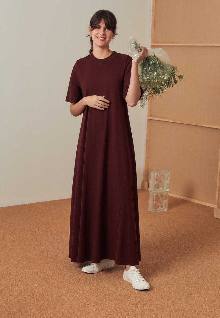 Kowtow Building Block T-Shirt Swing Dress - wine — Good as Gold