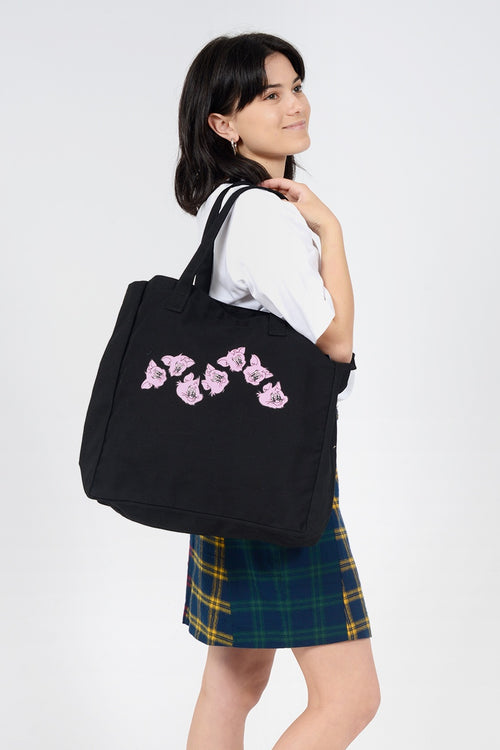 Wavy Cat Tote Bag - black