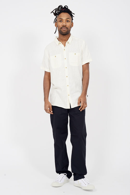 Men At Work Short Sleeve Shirt - natural linen