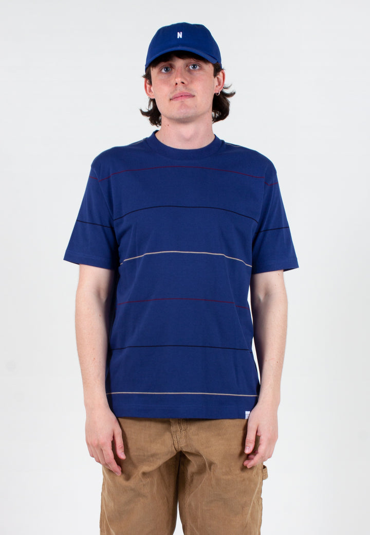 Norse Projects | Johannes Thin Stripe T-Shirt - twilight blue | Good As Gold, NZ
