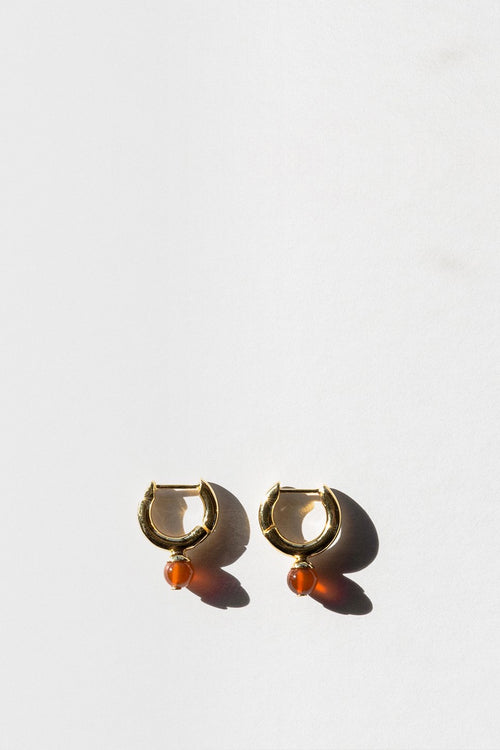 Jasmin Sparrow Audrey Hoop Earrings - gold/carnelian - Good As Gold