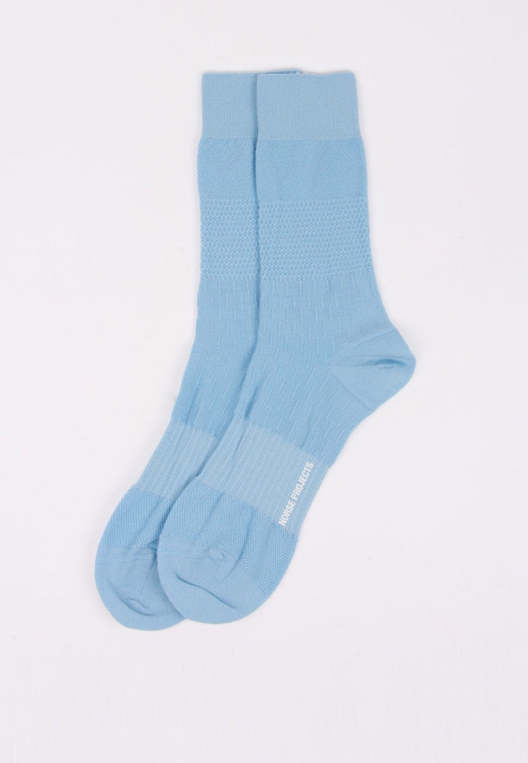 Norse Projects Bjarki Mixed Stitch Socks - luminous blue | GOOD AS GOLD | NZ