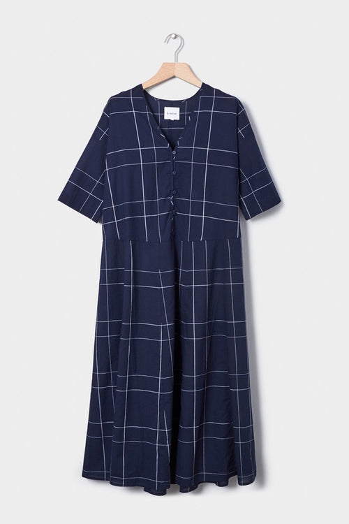 Kowtow Long Reflection Dress - navy check — Good as Gold
