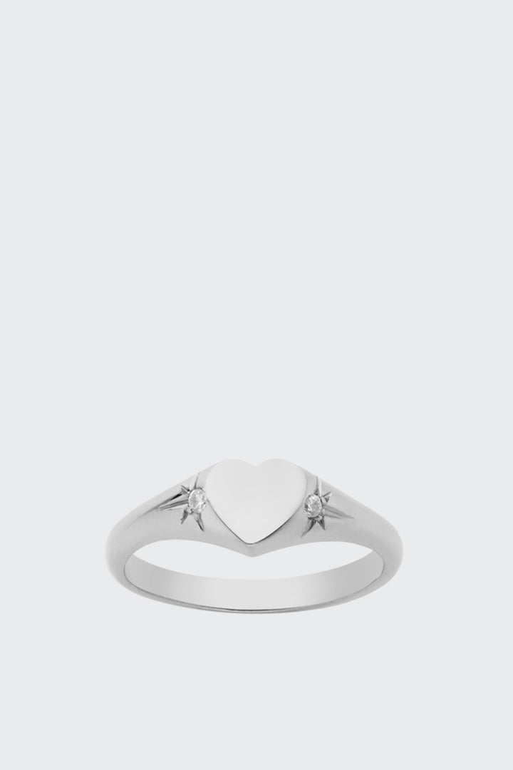 Meadowlark Heart Signet Ring - silver/white diamond | GOOD AS GOLD | NZ