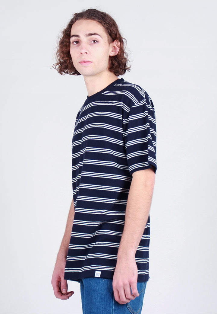 Norse Projects Johannes Cotton Linen Stripe T-Shirt - dark navy - Good As Gold