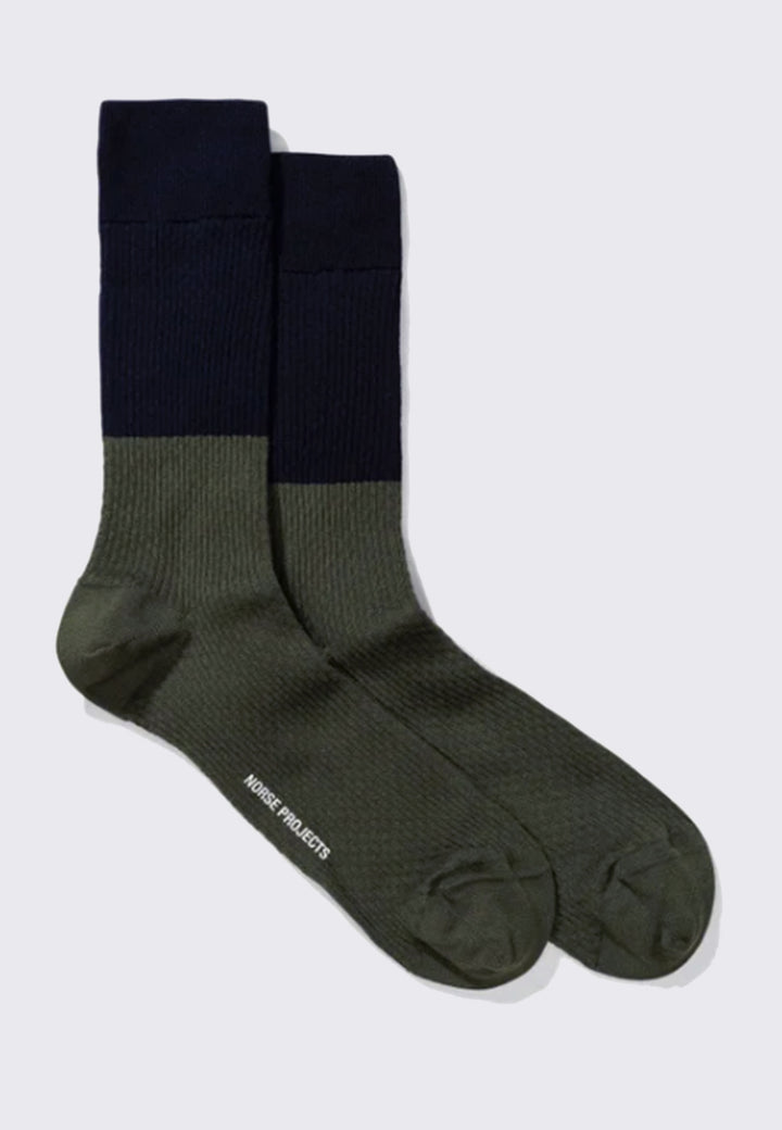 Bjarki Colour Block Texture Socks - himmel blue