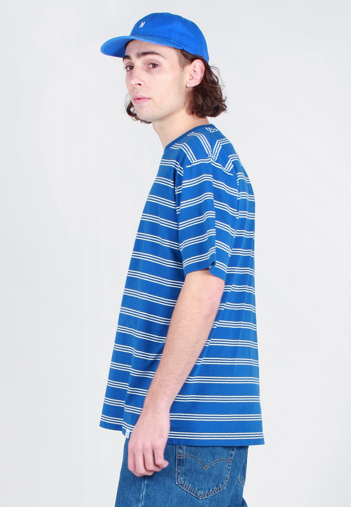 Norse Projects Johannes Cotton Linen Stripe T-Shirt - mediterranean blue - Good As Gold