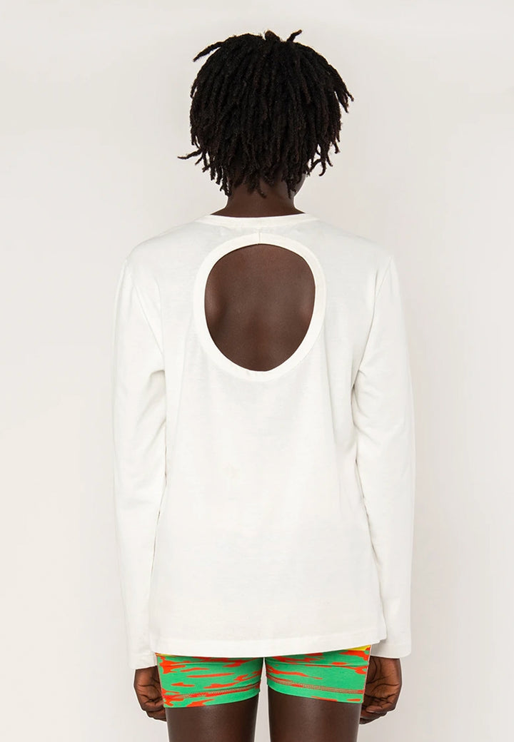Long Sleeve Cutout T-Shirt - white