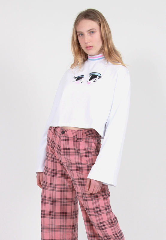 Eyes Crop Sweatshirt - white