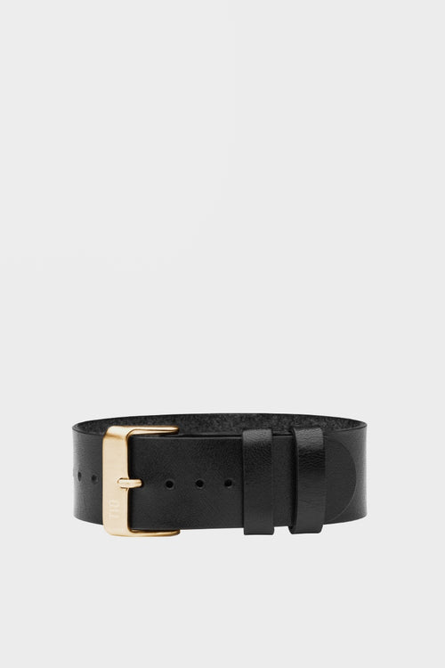TID Watches Wristband - black leather/gold buckle - Good As Gold