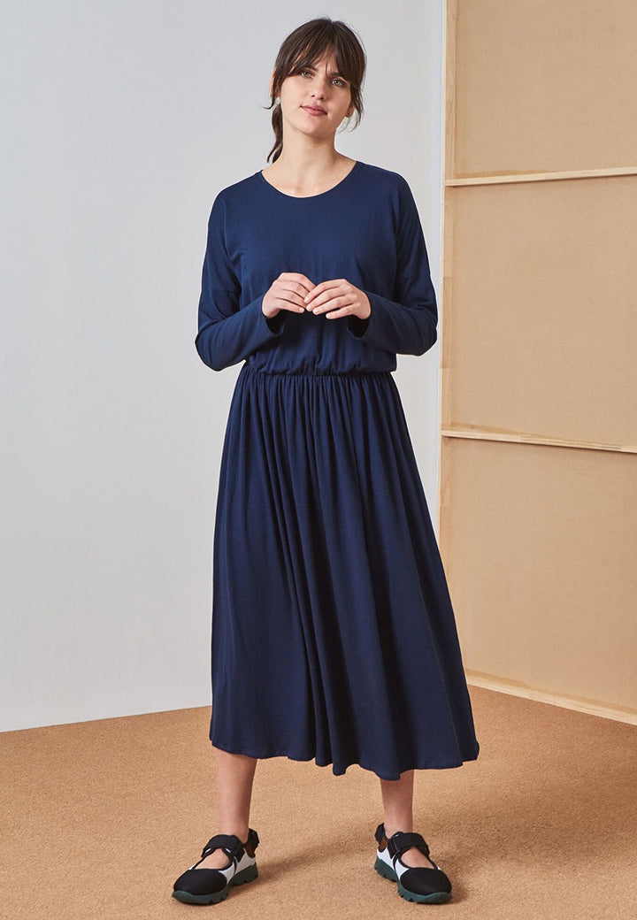 Kowtow Building Block Dancer Dress - navy — Good as Gold