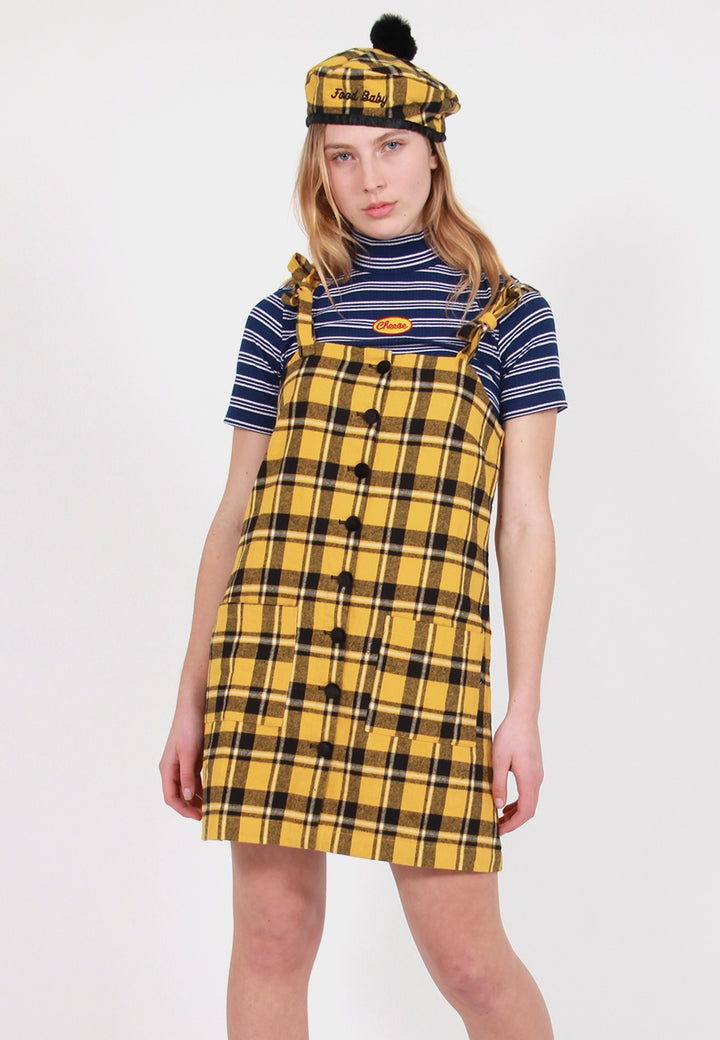 Check Pinny Dress - yellow