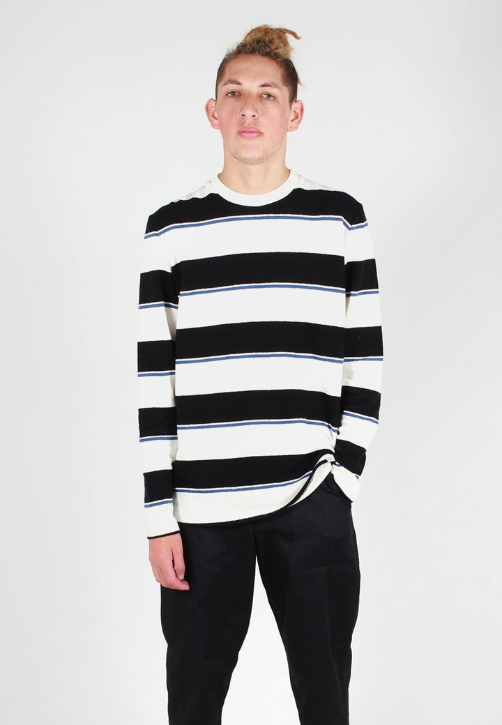 Norse Projects Johannes Textured Stripe Long Sleeve T-Shirt - dark navy - Good As Gold
