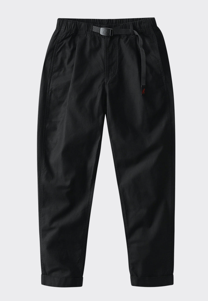 Tuck Tapered Back Satin Pants - black