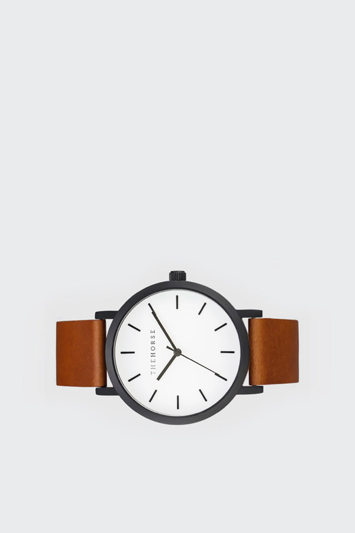 The Horse Original Watch - matte black/white/tan leather | GOOD AS GOLD | NZ